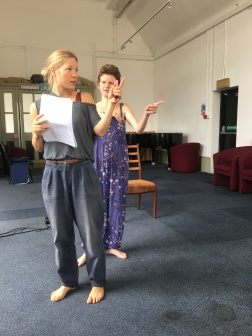 Movement director Tara D'Arquian in rehearsal with Jemima Foxtrot for 'Above the Mealy-Mouthed Sea'.