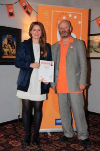 Director Lucy Allan collecting the award for 'Best Spoken Word Show' at Buxton Fringe Festival.